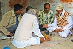 印地安下象棋者在曼达瓦,拉贾斯坦 库存图片