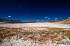 印地安人与盐湖Tso Kar的喜马拉雅山风景 库存照片