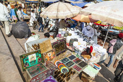 印地安人交易和购买在 免版税库存照片