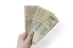 印地安人取缔了货币卢比1000, 500 库存照片