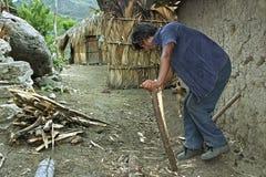 印地安人在家使木柴小 免版税库存图片