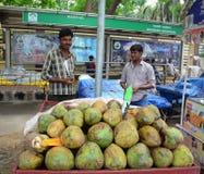 印地安人在Bodhgaya,印度卖在街道上的椰子果子 免版税库存图片