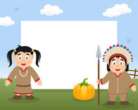 印地安人感恩水平的框架 免版税库存照片