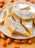 印地安人甜巴达姆katli或杏仁barfi 库存图片