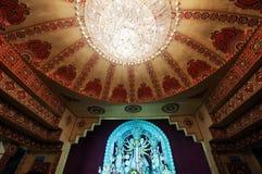 印地安人节日杜尔加puja寺庙室内装璜 库存图片