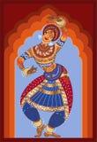 年轻印地安人跳舞全国舞蹈 她在有宽裤子的,用镯子装饰的她的胳膊全国服装打扮 库存照片