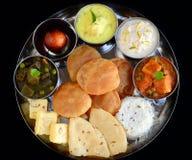 印地安人Thali或印地安膳食 库存照片