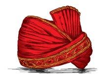 印地安传统头饰Pagdi传染媒介例证 免版税库存图片