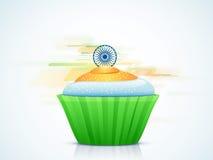 印地安共和国天庆祝的三色杯形蛋糕 库存照片