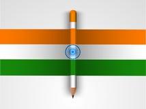 印地安共和国天庆祝的三色铅笔 库存图片