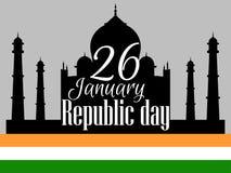 印地安共和国天,假日1月26日 标志mahal taj 向量 库存图片