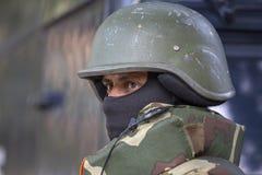 印地安卫兵 战士在即将来临的印度共和国天游行的排练活动参与 德里新的印度 库存照片