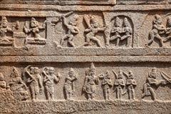 印地安古老浅浮雕在Hampi 库存照片
