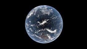 印地安和太平洋、澳大利亚、亚洲和大洋洲在云彩后在现实地球,被隔绝的地球, 3d翻译, eleme 库存图片