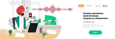 印地安商人举行电话聪明的声音个人助手公认声波技术概念办公室 向量例证
