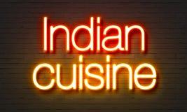 印地安在砖墙背景的烹调霓虹灯广告 库存图片