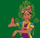印地安女孩画象 有莲花的手 Mehndi Puranas sanskrit 莎丽服 绿色背景 皇族释放例证