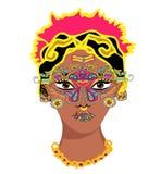 印地安女孩画象 Mehndi Puranas sanskrit 莎丽服和面孔与面具 向量例证