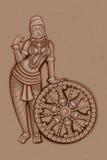 印地安女性雕塑葡萄酒雕象  库存例证