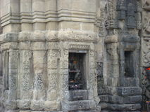 印地安女神在Baijnath寺庙的石头被雕刻 免版税图库摄影