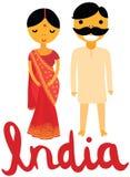 印地安妇女和人传统衣物的 库存图片