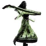 印地安妇女舞蹈家跳舞剪影 库存图片