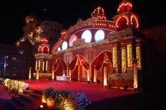 印地安婚礼阶段mandap 免版税库存图片