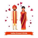 印地安婚礼,新娘,全国服装的新郎 库存照片