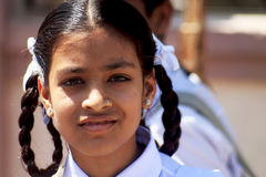 印地安学校女孩画象 库存图片