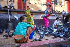 印地安家庭围拢与鸽子 两个附近的供营商准备卖他们鸽子食物 免版税库存照片