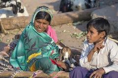 印地安家庭坐有goatling的街道 Mandu,印度 库存照片
