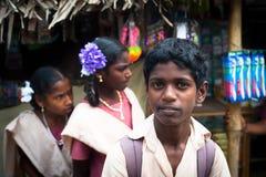 印地安小学生 印度,泰米尔纳德邦,坦贾武尔(Trichy) 免版税库存照片
