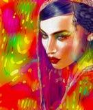 印地安或亚裔妇女的面孔,关闭抽象数字式艺术与五颜六色的面纱 油漆作用和发光的光是adde 免版税库存图片