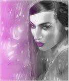印地安或亚裔妇女的面孔,关闭抽象数字式艺术与五颜六色的面纱 库存图片