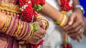 印地安新娘和新郎的手 库存图片