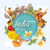 印地安旅行五颜六色的模板 例证印第安光栅集合向量 欢迎到使印度惊奇 我爱印度 在葡萄酒样式的向量例证 库存例证