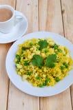 印地安早餐Poha 免版税库存照片