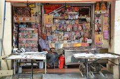 印地安杂志商店店主在一点印度,新加坡 图库摄影
