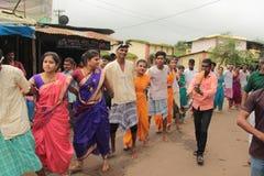 印地安村庄民间舞马戏团 免版税库存图片
