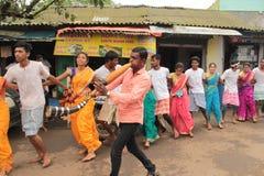 印地安村庄民间舞马戏团 免版税库存照片
