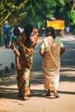 印地安母亲佩带的莎丽服抱绿色公园背景的小孩 免版税库存照片