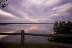 印地安湖日落 免版税图库摄影
