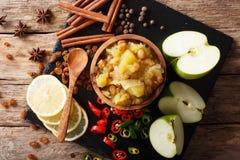 印地安烹调:苹果酸辣调味品用柠檬和香料特写镜头 免版税库存照片