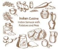 印地安烹调Samosa用土豆和豌豆成份 库存照片