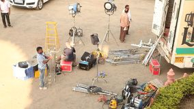 印地安电影工作人员在工作 股票视频