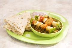 印地安盘Kathi Kebab或混合大豆Masla盘  库存图片