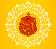 印地安神ganesha, Ganesh在充满活力的颜色的chaturthi卡片 库存图片