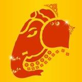 印地安神ganesha, Ganesh在充满活力的颜色的chaturthi卡片 图库摄影