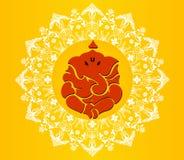 印地安神ganesha, Ganesh在充满活力的颜色的chaturthi卡片 免版税库存图片