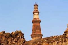 印地安纪念碑minar的Qutub 库存照片